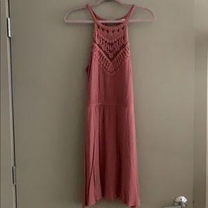 Mauve A Line Crochet Top Dress